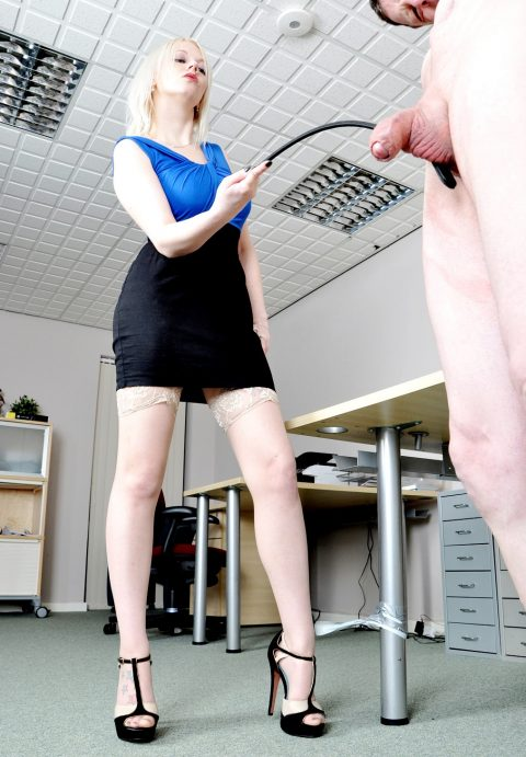 Blonde Goddess Heather In Stockings and Skirt Cock Tortured CFNM Femdom in Office