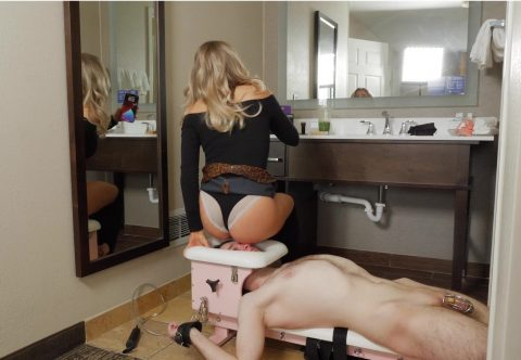 Brat Princess Amber Lifted Her Skirt to Sit in Panties on Face-Chair Captive Chastity Slave For Ignored Facesitting Femdom