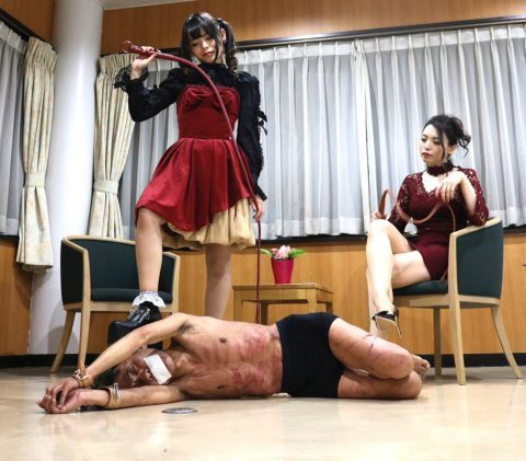 Cruel Japanese Mom and Daughter Extreme Whipped Their Enslaved Bound Stepfather to Red Footprints - Asian Hard Femdom BDSM