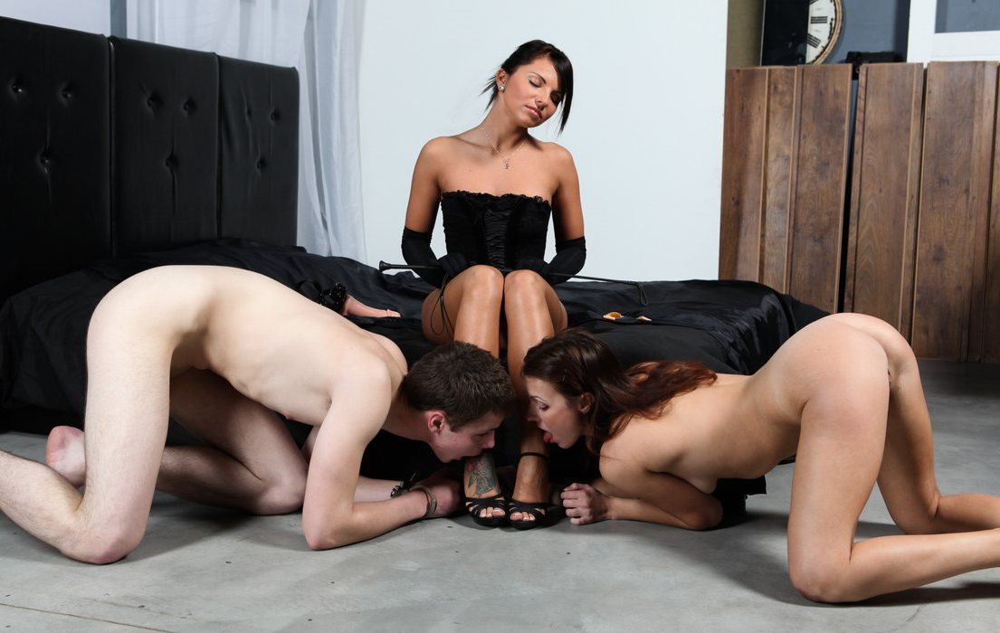 Double Foot Worship CFNM Femdom and Lezdom With Domme Megan Vale and Nude Slaves