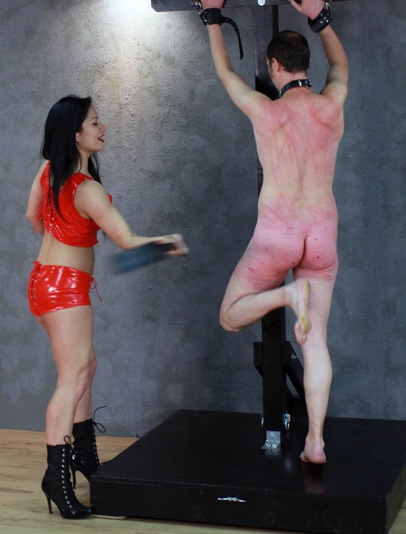 Milf Mistress Jasmine In Red Latex - Hard Whipping Her Bondaged Nude Slave