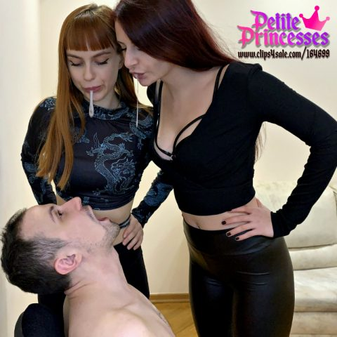 Mistresses Kira and Sofi - Double Spitting Humiliation - Slave's Mouth Full of Their Saliva