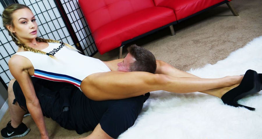 Pigtailed Teen But Strong Mistress Naomi Swann Scissor Hold Slave's Throat - Smothering Femdom
