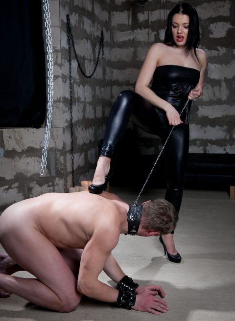 Sexy Russian Mistress Stephanie In Leggings Train Her Pet Slave For Human Footrest Humiliation - CFNM Worship Femdom
