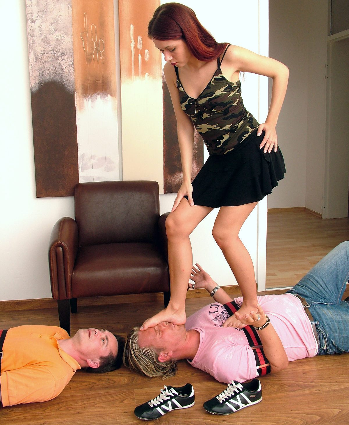 Skinny German Young Domme Luna Full Weight Trampling and FaceStomping Bare Feet Femdom