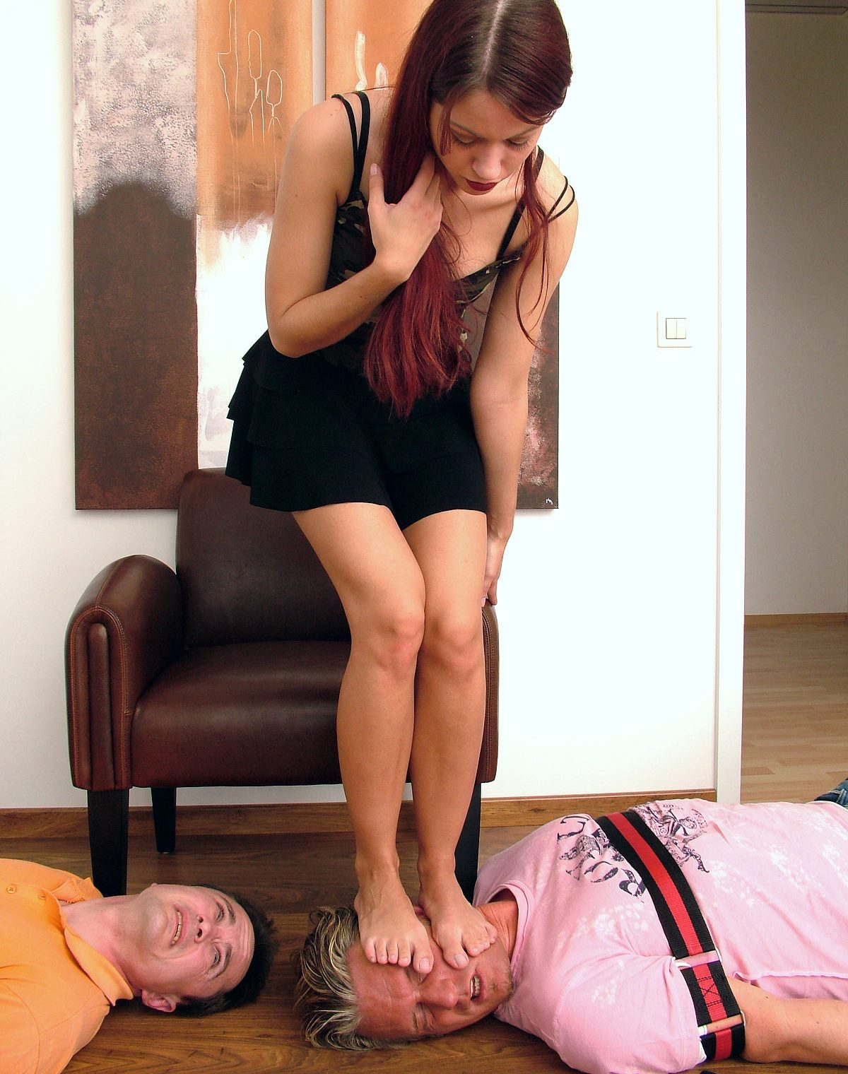 Young Pretty Dominant Girl Full Weight Head Trampling Femdom Bare Feet