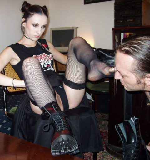 Young and Skinny Goth Domme Bojana In Fishnet Stockings and Leather Boots - Foot Domination Femdom