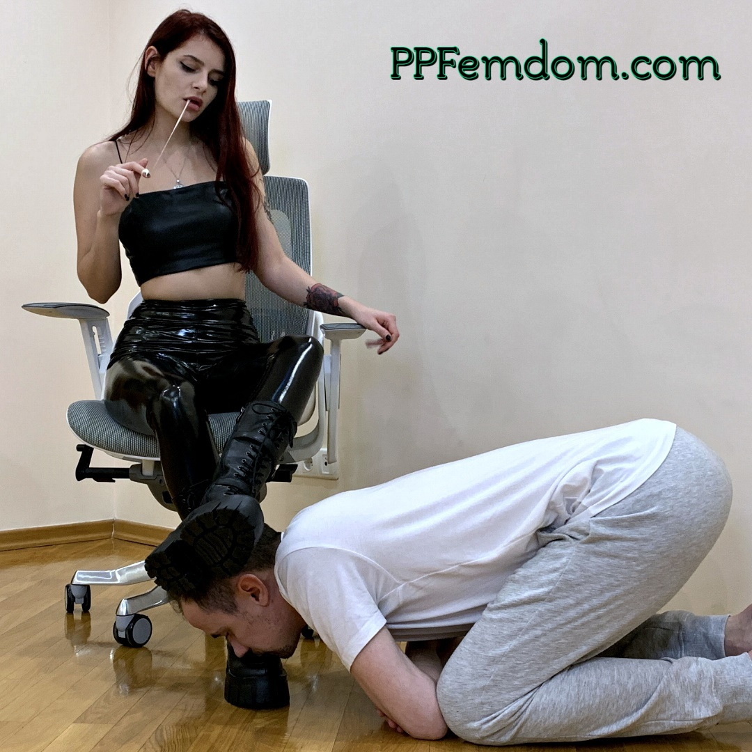 Evil Domme Sofi In Latex Pants and Leather Shoes - Boot Worship Foot Femdom