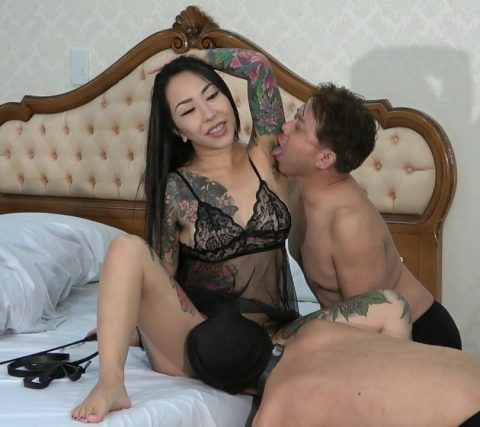 Two Slaves Serves Asian Mistress - Hairy Armpits Licking and Cunnilingus Simultaneously