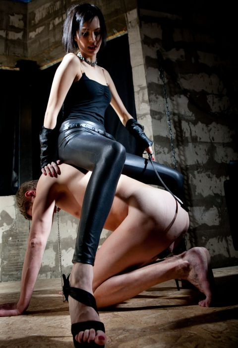 Glam Russian Domme Macy A. In Leather Yoga Pants Sit On Her Slave For Spanking CFNM Femdom